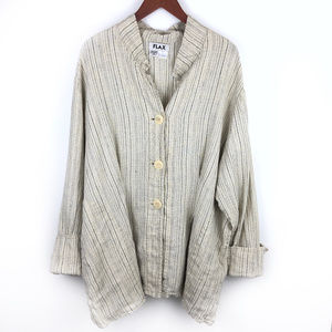 Flax Linen Striped Button Down Top 3G